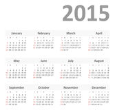 Simple calendar for 2015 year vector. Eps 10 Stock Image
