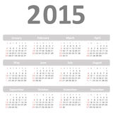 Simple calendar for 2015 year vector. Eps 10 Royalty Free Stock Photo