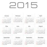 Simple calendar for 2015 year vector. Eps 10 stock illustration
