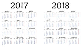 Simple calendar for 2017 and 2018 year . Simple calendar for 2017. Vector template design monthly date illustration 2018 calendar week organizer simple number Stock Image