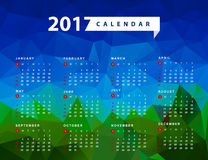 Simple calendar for 2017 year. Week starts from sunday Royalty Free Stock Photo