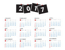 Simple calendar for 2017 year. Week starts from sunday. Sample Royalty Free Stock Photos