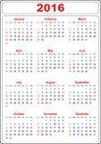 Simple Calendar 2016 Royalty Free Stock Photography