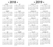 Simple calendar for 2018 and 2019, 2020 years template date day design month business organizer planner vector Stock Photos