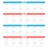 Simple calendar for 4 years 2017 - 2020. Week starts from Monday. Royalty Free Stock Photo