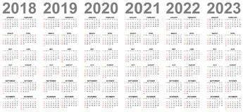 Simple   calendars for years 2018 2019 2020 2021 2022 2023 sundays in red first Stock Photography