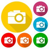 Simple Camera Icons set with long shadow Royalty Free Stock Photo
