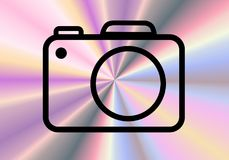 A simple camera sign with abstract background. A simple modern camera sign isolated on an abstract background stock illustration