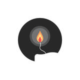 Simple candle flame in circle. Concept of flaming candlestick, christianity attributes, shining meditation.  on white background. flat style trend modern Royalty Free Stock Photo