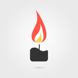 Simple candle icon with shadow. Concept of flaming candlestick, christianity attributes, shining, meditation.  on gray background. flat style trend modern logo Stock Photography