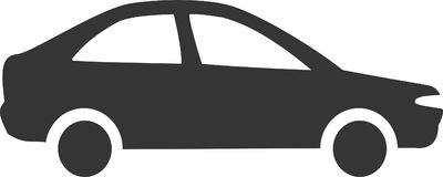 Simple Car - Sedan Silhouette. Sign or Logo Element for Transportation, Vehicle Sales, Street / Road Travel Services and Accessories. Flat Minimal Icon Design vector illustration