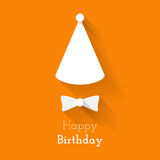 Simple card for birthday with a white butterfly on orange backgr Royalty Free Stock Images