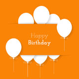 Simple card for birthday with a white paper balloons on orange b Stock Photos