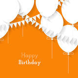 Simple card for birthday with a white paper balloons on orange b Royalty Free Stock Image