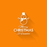 Simple card for Christmas with a white snowman on orange backgro Royalty Free Stock Photos