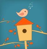 Simple card illustration of funny cartoon bird on Stock Photography