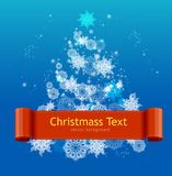 Simple Card with white Christmas tree Royalty Free Stock Photography