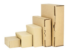 Simple cardboard boxes set for packing Stock Photos