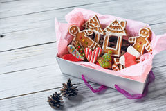 Simple cardboard white box with homemade cookies Royalty Free Stock Images