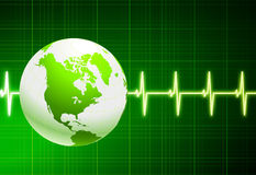 Simple cardiogram green background with globe Stock Photography