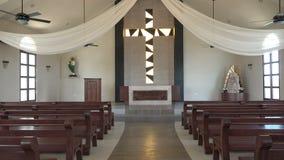 Simple Caribbean Beach Church - Tilt Up stock video footage