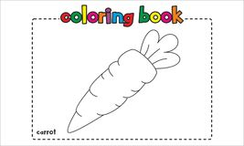 Simple carrot coloring book for children and kids Stock Photo
