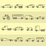 Simple cars black outline icons collection Royalty Free Stock Photo