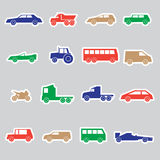 Simple cars color stickers collection Stock Photography
