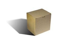 Simple carton box over white Stock Photo