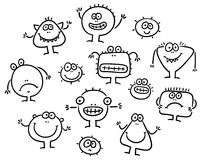 Simple Cartoon Black and White Monsters Set Stock Photography