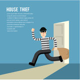 Simple cartoon of a burglar break into a house. In flat stele/ Vector illustration Royalty Free Stock Photo