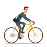 Simple cartoon of businessman riding a bicycle Vector Royalty Free Stock Photos