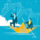 Simple cartoon of businessmen rowing the boat.  Teamwork, success. Stock Photography