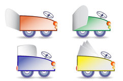 Simple cartoon cars with folding paper banners. Four colorful cars with blank notepads Stock Photos