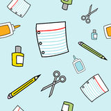 Simple Cartoon School Supplies Seamless Pattern. A seamless pattern of various school supplies drawn in a childlike style Stock Photos