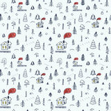 Simple cartoon seamless pattern with cute forest vector illustration