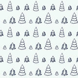 Simple cartoon seamless patterns with cute trees Royalty Free Stock Image