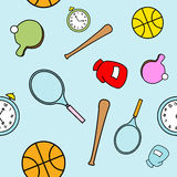 Simple Cartoon Sports Themed Seamless Pattern. A seamless pattern of various sports equipment drawn in a childlike style Stock Images