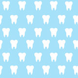 Simple cartoon tooth pattern hite silhouette on a blue background, teeth,  illustration icon, logo first tooth. Medical dent. Al office symbols. Care the oral Stock Photography