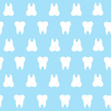 Simple cartoon tooth pattern hite silhouette on a blue background, teeth,  illustration icon, logo first tooth. Medical dent. Al office symbols. Care the oral Stock Photo