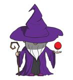 Simple cartoon wizard with staff. Isolated on Stock Image