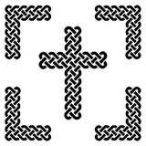 Simple Celtic style endless knot cross in black in knotted black frame on white background inspired by Irish St Patrick`s Day Stock Images