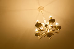 Simple chandelier bottom view with ceiling background Stock Image