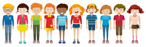 Simple characters of boys and girls. Illustration Royalty Free Stock Photography