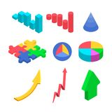 Simple charts and arrows. Isometric image Royalty Free Stock Photos