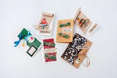 Simple cheap Christmas packages for gift wrapping. Simple cheap Christmas packages for gift wrapping Royalty Free Stock Photography