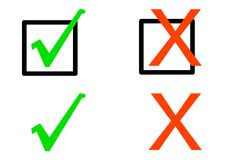 Simple Check Symbols. Tick and X's or Check symbols isolated on a white background Stock Photos