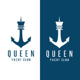 Simple chess figure queen and anchor vector design. Template Stock Photo
