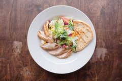 Simple chicken salad shot from above Royalty Free Stock Photography