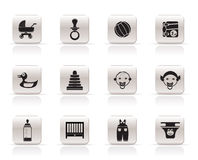 Simple Child, Baby and Baby Online Shop Icons Stock Photography